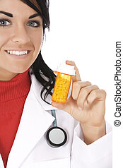 Doctor - Caucasian doctor holding a bottle of pills