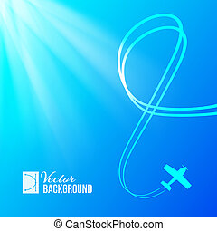 Airplane on blue background with banner. Vector...