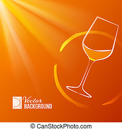 Wine glass over shine backdrop Vector illustration