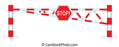 Barrier - Illustration barrier with a stop sign on a white...