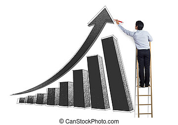 man on ladder drawing growth chart