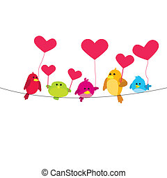 birds with love on wire - five colorful love birds on wire...