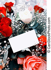 vintage roses with blank card
