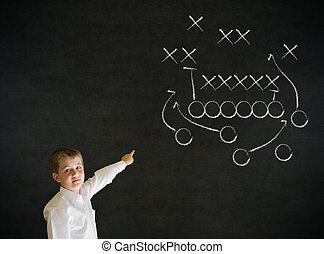 Pointing boy business man with chalk American football...
