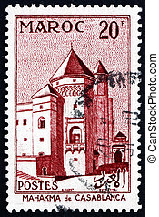 FRENCH MOROCCO - CIRCA 1955: a stamp printed in the Morocco...