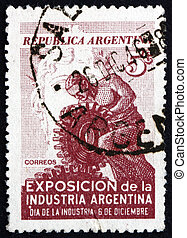 Postage stamp Argentina 1946 Worker with Gear