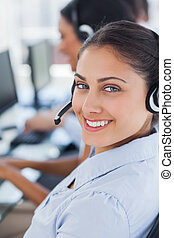 Close up of a call centre agent
