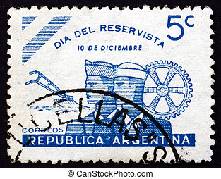 Postage stamp Argentina 1944 Day of the Reservists -...
