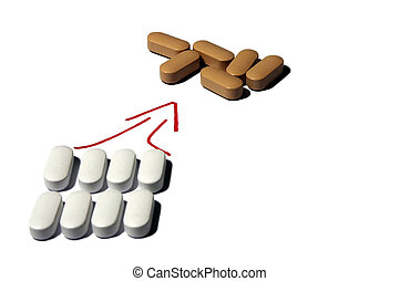 Pharmaceutics vitamin pill, group of white pills ready to make a organized attack brown pills