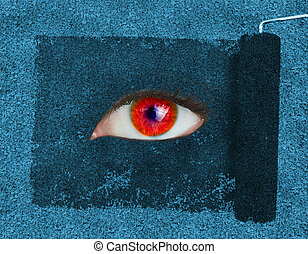 Paint roller revealing a red eye on blue texture
