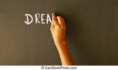 Dream Big, Set Goals, Take Action c - A person drawing a...