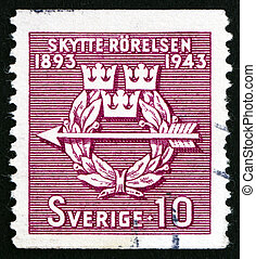 Postage stamp Sweden 1943 Rifle Federation Emblem - SWEDEN -...
