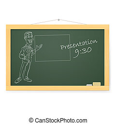 Blackboard with man and organizing presentations...