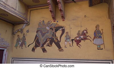historical palace wall painting in Jaipur, Rajasthan,India
