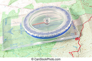 Compass - A compass on a topographic map