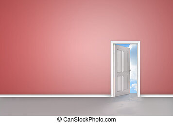 White door opening to reveal blue sky
