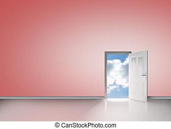 Door opening to reveal blue sunny sky
