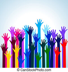 Hands in colors Illustration on blue background for design