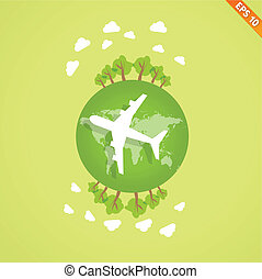 Plane over the earth for travel concept  - Vector illustration - EPS10