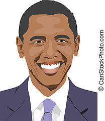 Obamas smile - Barack Obama is smiling - drawing
