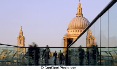 view of st pauls cathedral, from millennium bridge, london