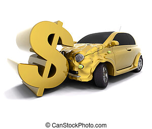 Crashing dollar - Car crashing into a dollar sign