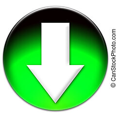 White arrow looking down on a green glassy button isolated...