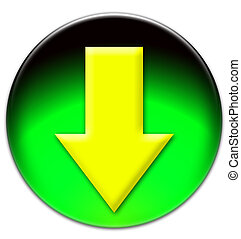 Yellow arrow looking down on a green glassy button isolated...