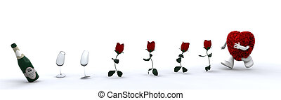 Furry heart running - Cute furry heart chasing after roses,...