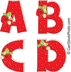 red strawberry alphabet. Letter A, B, C, D - Patchwork red...