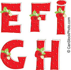 red atrawberry alphabet Letter E, F, G, H, I - Patchwork red...