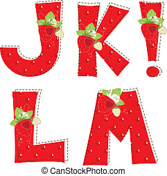 red strawberry alphabet Letter J, K, L, M, - Patchwork red...