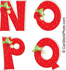red atrawberry alphabet. Letter N, O, P, Q - Patchwork red...