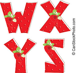 red atrawberry alphabet. Letter W, X, Y, Z - Patchwork red...