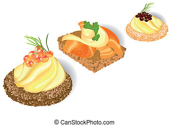 canape - three canape isolated on the white background