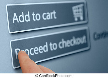 Online Shopping - Finger Pushing Add To Cart Button On...