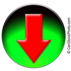 Red arrow looking down on a green glassy button isolated...