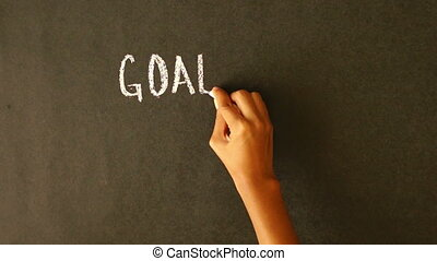 Goals, Strategy, Solutions - A person drawing a Goals,...
