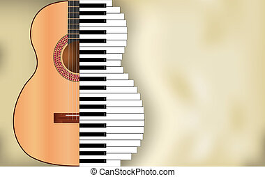abstract music background from guitar and piano keys with...