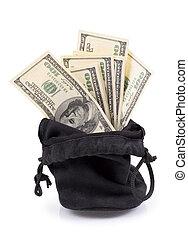 hundred-dollar bills in a bag