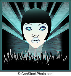 Ice Girl, Flyer for an Indie Club or DJ Set, vector background illustration