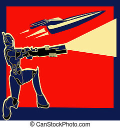 Rocket Power, Retro vector label with an armoured marine and a space ship