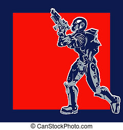 Retro Space Label, vector background with an armoured marine in a comic book style