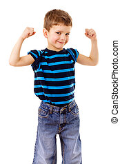 Strong kid showing the muscles - Portrait of a strong kid...