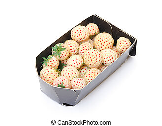White strawberries in paper box