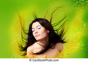 beautiful woman with flying hair - portrait of a beautiful...