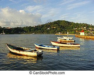Old boats at Samana port, Dominican Republic