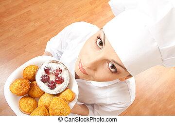 Chef, Galletas, mujer, bandeja, tenencia
