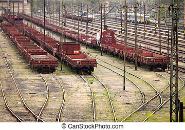 Railway - Old, rusty freight wagons on the railway