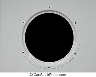 Porthole - Metal porthole of a ship, black background, easy...